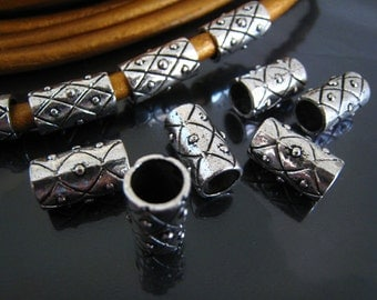 Finding - 4 pcs Vintage Silver Round Cylinder Tubes for Leather Making 17mm x 9mm ( inside 7mm Diameter )