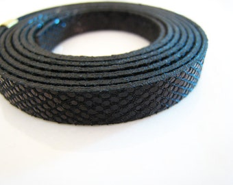 1 Yard of 8mm x 1.5mm Metallic Black Jet Disco Double Face Lace Strap Flat Leather Like Cord