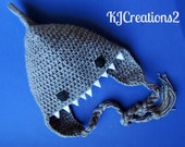 Shark Hat (All sizes available-Made to order)