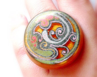 SALE Sterling Silver Resin Ring Chunky Swirly Water Waves Multicolored Gold Adjustable CLEARANCE CLOSEOUT