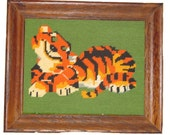 Vintage Needlepoint Tiger