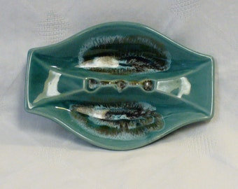 Vintage 60s Hand Painted Mad Men Era Ceramic Ashtray Funky Retro Shape Turquoise Brown Design Made in America