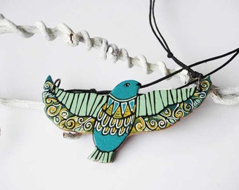 Bird Necklace Wood Animal Necklace Tribal Necklace Mint Green Bird Totem Woodland Necklace Made to Order