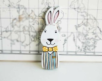 Bunny Brooch Rabbit Wood Brooch Animal Brooch Hand Painted on Wood