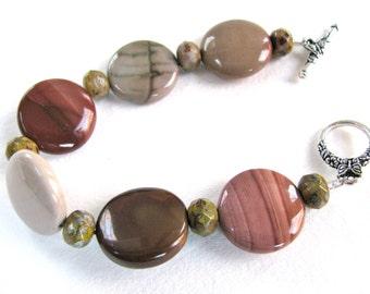 Red bracelet, Jasper bracelet, Imperial Jasper with Czech glass, beaded bracelet, gemstone bracelet 398