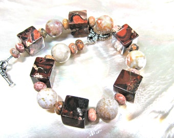 Red and white bracelet, Brecciated Jasper cubes with Ocean Jasper, beaded bracelet, gemstones 153
