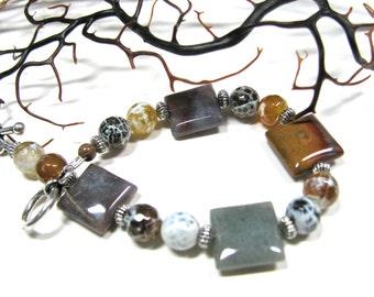 Earthy bracelet, Fancy Jasper with Fire Agate, beaded bracelet, gemstones 268
