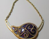 RESERVED Purple Paisley Vintage Brooch reinvented Golden Choker