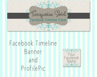 Facebook Timeline Cover Set Turquiose and Gray Swirl Premade Design