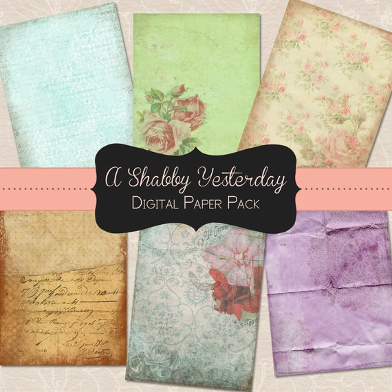 """Grungy, Shabby Digital Paper Pack 8.5 x 11 Inches 6 Sheets INSTANT Printable Download - """"A Shabby Yesterday"""""""