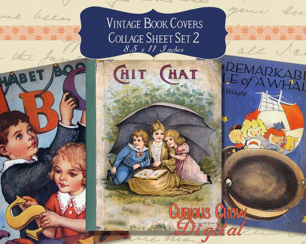 Book Cover Collage Jokes : Vintage book covers digital collage sheet cute images set