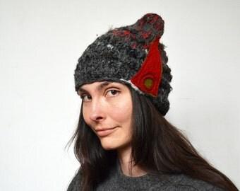 Fancy Knit beanie, soft warm winter hat, red felt decoration wearable art ooak woman hat unique, asymmetrical small cap, funny, dark grey 55