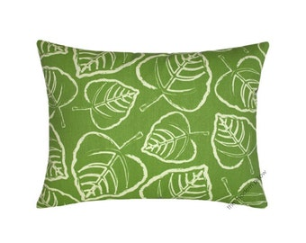 """Green / Ivory Leaf Indoor / Outdoor Decorative Throw Pillow Cover / Pillow Case / Cushion Cover / 12x16"""""""