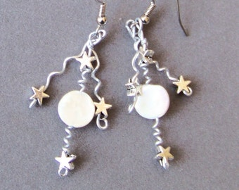 Earrings - Silver Aluminum with Iridescent Mother of Pearl Shell and Stars