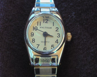 Vintage Waltham Watch Stretch Band Womens Watch Yellow Gold Watch Needs Battery