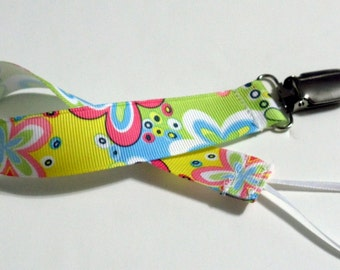Peace Flower Ribbon Pacifier Clip Pacifier Holder