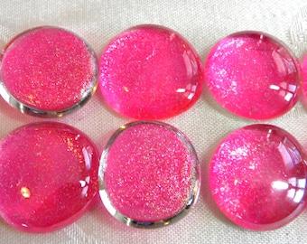 10 LARGE Flat Glass GLITTER Gems - Hot Pink - Half Marbles - Mosaics/Wedding/Floral Display