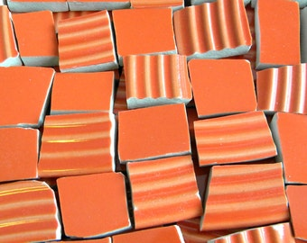 Orange Crush - Solid Color Stoneware Mosaic Tiles - Recycled Plates - 50 Tiles