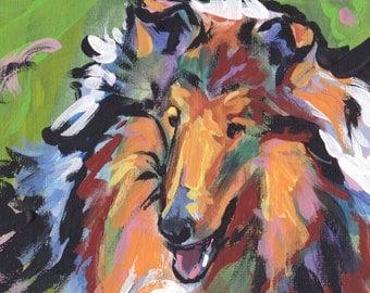"""Rough Collie Portrait  giclee art print dog pop art bright colors 13x19"""" LEA"""