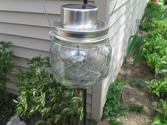 Set of 4 Solar Powered Outdoor LED Patio Garden Lights Wire Wrapped Med Jar Light/Latern Eco Friendly