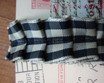 French Country Black and Cream Gingham Check Ruffle Ribbon Trim