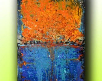 Art..painting.. abstract.. acrylic painting.. on canvas with texture Blue Orange Abstract Landscape 36''x24'' Acrylic on Canvas