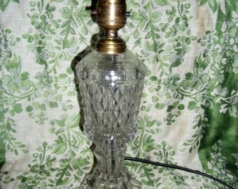 Antique 1840s Boston & Sandwich Glass Whale Oil Lamp Base w 1950s Electric Wiring Only 25 USD