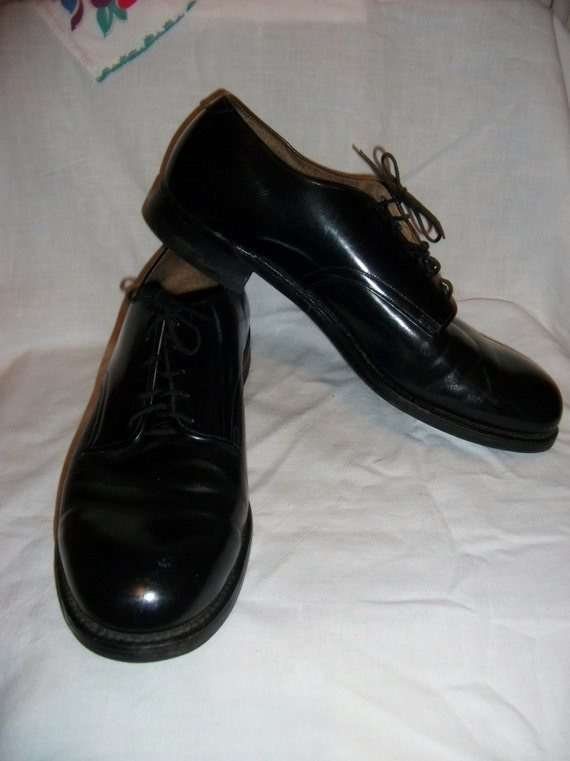 vintage s black leather dress shoes army air
