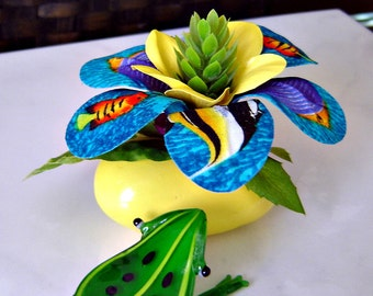 Tropical Fish Fabric Flower on Bright Yellow Rock  - Paperweight  / Table Decor