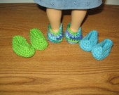 "slippers shoes 3 Pairs Hand-Crocheted for 18 inch 18"" dolls turquoise green  will fit American Girl"