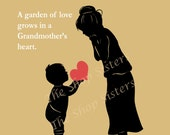 Grandmother Mother's Day Poem Grandma Bubbie Yiayia Nanny Nana Black Custom 8 x 10 Print Wall art Grandson FREE SHIPPING