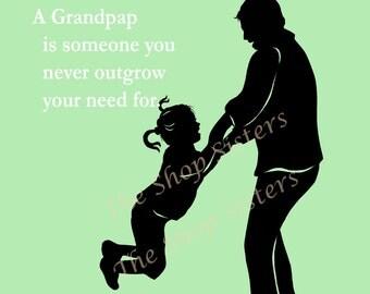 Grandfather Poem Grandpap Pap Zaydee Pappou green Custom 8 x 10 Print Wall art Granddaughter FREE SHIPPING
