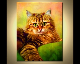 Cat Painting - Custom Cat Art from photos. Custom Cat Portrait.