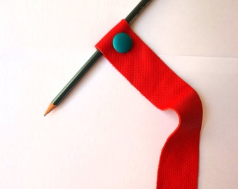 Red Leather Bookmark with Turquoise Leather Vintage Button-Handmade Book Candy-Book Accessories-Gift Idea for Book Lover