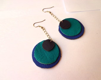 Blue Circles-Leather Dangle Earrings-Handmade-Just for Fun