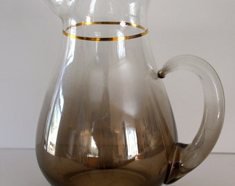 Vintage Smoked Ombre Glass Pitcher