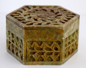 Vintage Carved Stone Lidded Box