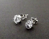 Herkimer Diamond and Sterling Silver Stud Earrings
