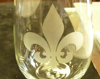 Stemless Wine Glasses - Stemless Fleur de Lis Wine Glasses - Etched Stemless Wine - Fleur De Lis Gift - Wine Glasses - Wedding Gift - Gift
