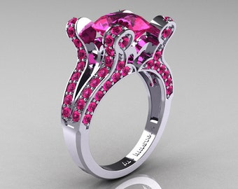 French Vintage 14K White Gold 3.0 CT Pink Sapphire Pisces Wedding Ring Engagement Ring Y228-14KWGPS