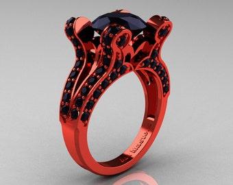 Brunhilde - French Vintage 14K Red Gold 3.0 CT Black Diamond Pisces Wedding Ring Engagement Ring Y228-14KREGBD