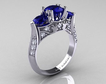 Nature Inspired 14K White Gold Three Stone Blue Sapphire Diamond Solitaire Wedding Ring Y230-14KWGDBS