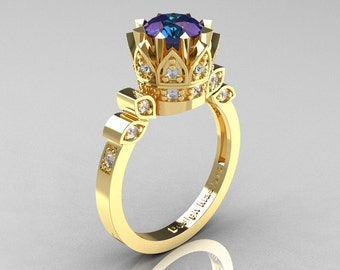 Classic Armenian 14K Yellow Gold 2.0 Alexandrite Diamond Bridal Solitaire Ring R405-14KYGD2AL