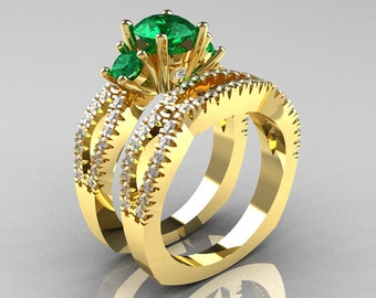 Modern French 14K Yellow Gold Three Stone Emerald Diamond Engagement Ring Wedding Band Set R140S-14KYGDEM