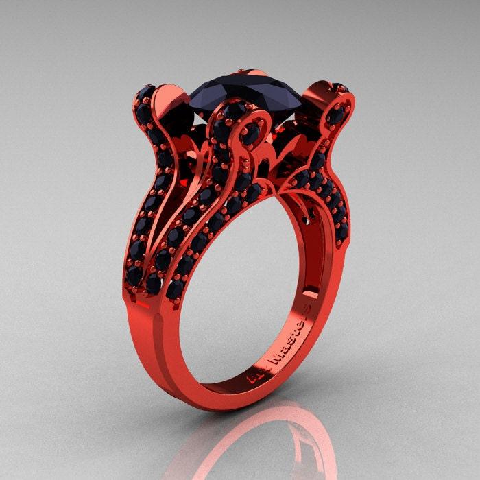 Brunhilde French Vintage 14k Red Gold 3 0 Ct Black Diamond