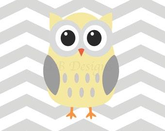 Woodland Nursery Print, Owl Nursery Decor, Gender Neutral Nursery Decor, Gray and Yellow Nursery,  Woodland Bedroom Decor, Playroom Decor