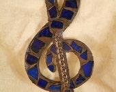 Blue Glass Mosaic Treble Clef CUSTOM COLORS AVAILABLE