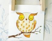 """Mini original watercolor painting: cute owl in yellow and orange - 3.9"""" x 3.9"""""""