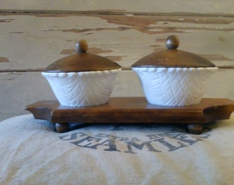 Mid Century Milkglass Condiment Set - Vintage Shabby Chic Serving Ware, Holiday Party Ware, Country Wedding Serving Dish Ware, Home Decor