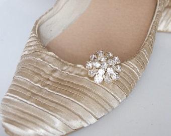Bridal Shoe Clips, Rhinestone Diamante Flower Silver Wedding Shoe Decoration